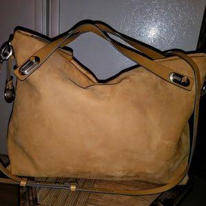 Skagen Camel Suede/Nubuck Leather Purse Bag